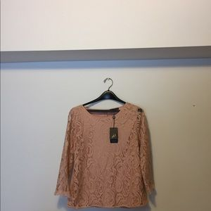 Adrianna Pappel Lace top, 3/4 slev warm blush, Lg